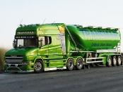 Scania Hauber Longline mit Feldbinder-Eutersilo-Auflieger